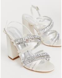 Sandalias de tacón de cuero con adornos blancas de ASOS DESIGN