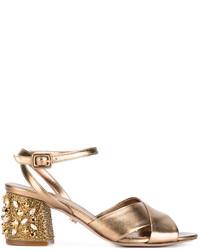 Sandalias de tacón de cuero con adornos doradas de Le Silla