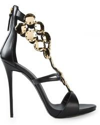 Sandalias de tacón de cuero con adornos en negro y dorado de Giuseppe Zanotti