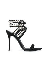 Sandalias de tacón de cuero con adornos negras de Giuseppe Zanotti Design