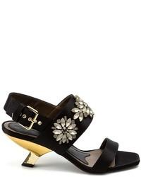 Sandalias de tacón de cuero con adornos negras de Marni