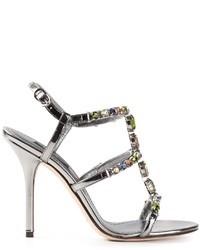 Sandalias de Tacón de Cuero con Adornos Plateadas de Dolce & Gabbana