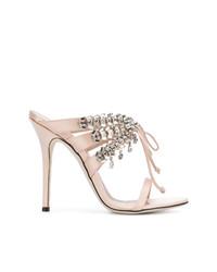 Sandalias de tacón de cuero con adornos rosadas de Giuseppe Zanotti Design