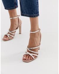 Sandalias de tacón de cuero con adornos rosadas de Office