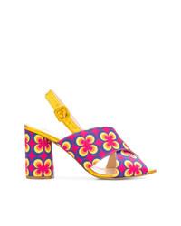 Sandalias de tacón de cuero con print de flores en multicolor de Lenora