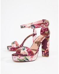 Sandalias de tacón de cuero con print de flores rosa de Ted Baker