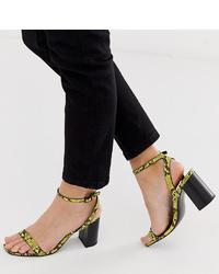 Sandalias de tacón de cuero con print de serpiente en amarillo verdoso de ASOS DESIGN