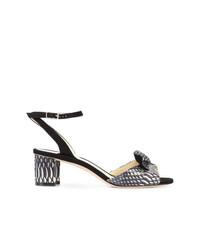 Sandalias de tacón de cuero con print de serpiente en blanco y negro de Sarah Flint