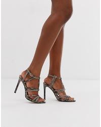 Sandalias de tacón de cuero con print de serpiente en gris oscuro de ASOS DESIGN
