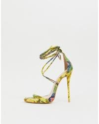 Sandalias de tacón de cuero con print de serpiente en multicolor de SIMMI Shoes
