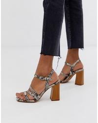Sandalias de tacón de cuero con print de serpiente grises de ASOS DESIGN