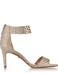 Sandalias de tacón de cuero con print de serpiente grises de Diane von Furstenberg