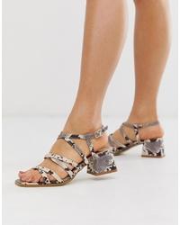 Sandalias de tacón de cuero con print de serpiente grises de RAID