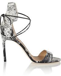 Sandalias de tacón de cuero con print de serpiente grises de Reed Krakoff