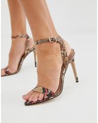 Sandalias de tacón de cuero con print de serpiente marrón claro de Aldo