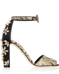 Sandalias de tacón de cuero con print de serpiente marrónes de Dolce & Gabbana