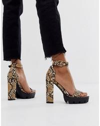 Sandalias de tacón de cuero con print de serpiente marrónes de SIMMI Shoes
