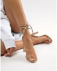 Sandalias de tacón de cuero con print de serpiente transparentes de SIMMI Shoes