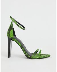Sandalias de tacón de cuero con print de serpiente verdes de ASOS DESIGN