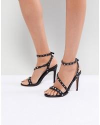 Sandalias de tacón de cuero con tachuelas negras de ASOS DESIGN