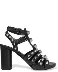 Sandalias de Tacón de Cuero con Tachuelas Negras de Balenciaga