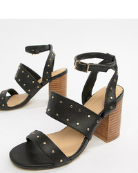 Sandalias de Tacón de Cuero con Tachuelas Negras de Park Lane