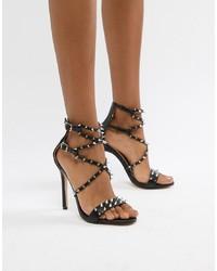 Sandalias de Tacón de Cuero con Tachuelas Negras de Public Desire