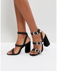 Sandalias de Tacón de Cuero con Tachuelas Negras de RAID