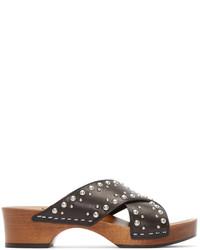 Sandalias de Tacón de Cuero con Tachuelas Negras de Saint Laurent