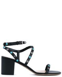 Sandalias de Tacón de Cuero con Tachuelas Negras de Valentino Garavani