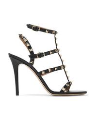 Sandalias de tacón de cuero con tachuelas negras de Valentino
