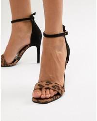 Sandalias de tacón de cuero de leopardo en tabaco de New Look