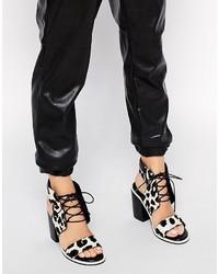 Sandalias de tacón de cuero de leopardo grises de Senso