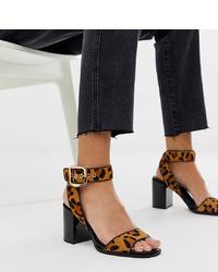 Sandalias de tacón de cuero de leopardo marrónes de River Island