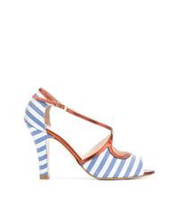 Sandalias de tacón de cuero de rayas horizontales celestes de Lenora