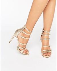 Sandalias de Tacón de Cuero Doradas de Aldo