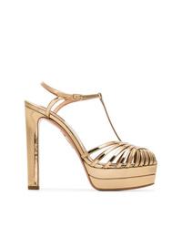 Sandalias de tacón de cuero doradas de Aquazzura