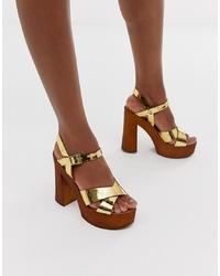 Sandalias de tacón de cuero doradas de ASOS DESIGN