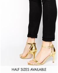Sandalias de tacón de cuero doradas de Asos