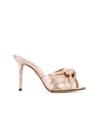 Sandalias de tacón de cuero doradas de Charlotte Olympia