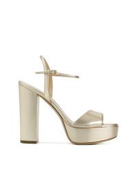 Sandalias de tacón de cuero doradas de Deimille