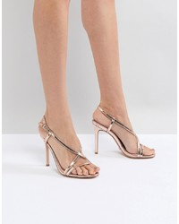 Sandalias de tacón de cuero doradas de Dune