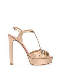 Sandalias de tacón de cuero doradas de Francesco Russo