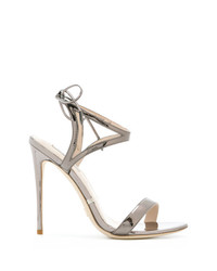 Sandalias de tacón de cuero doradas de Gianni Renzi