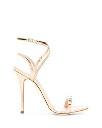 Sandalias de tacón de cuero doradas de Giuseppe Zanotti Design