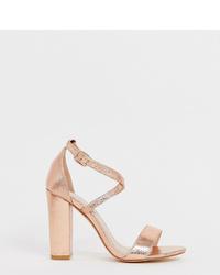 Sandalias de tacón de cuero doradas de Glamorous Wide Fit