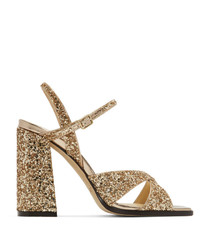 Sandalias de tacón de cuero doradas de Jimmy Choo