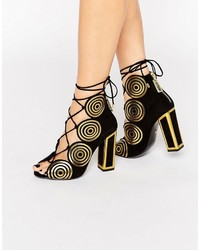 Sandalias de Tacón de Cuero Doradas de Kat Maconie