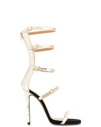 Sandalias de tacón de cuero doradas de Marc Ellis