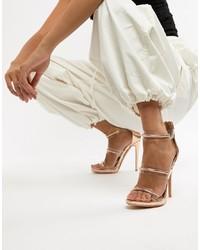 Sandalias de tacón de cuero doradas de Missguided